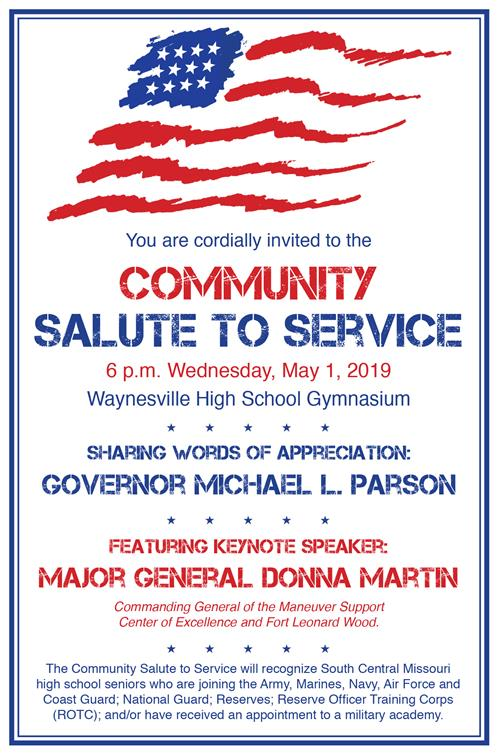 Invitation to Salute to Service at 6 p.m. May 1 at WHS gym