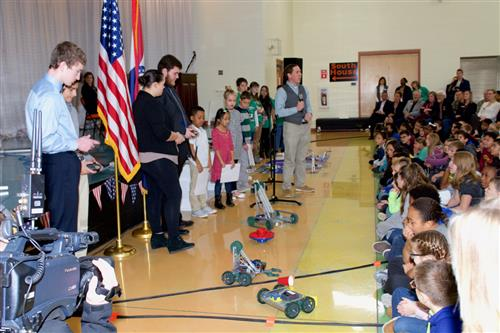 Students demonstrating robots