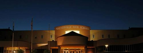 Front view of Waynesville High School at night