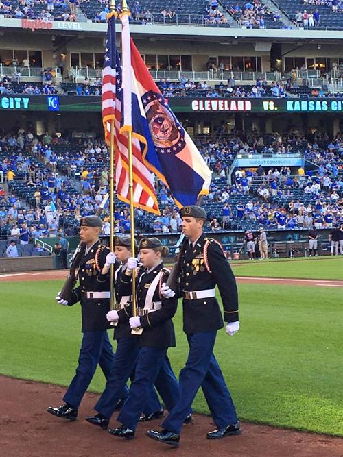 Waynesville JROTC performs before Royals game