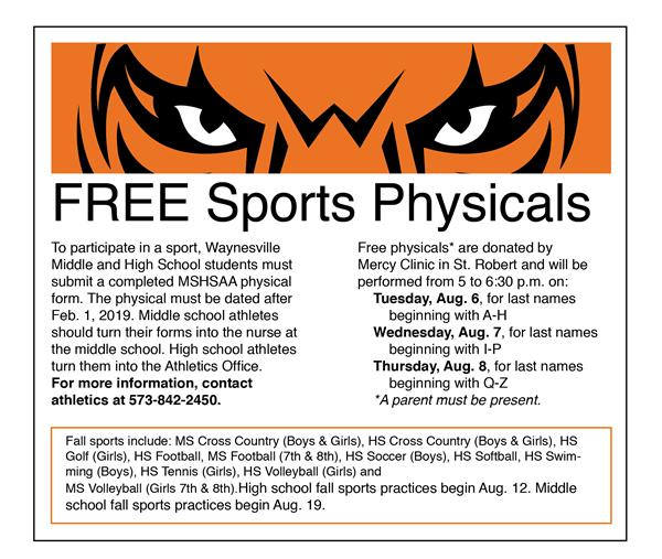 Free physicals to be offered for Waynesville Middle and High