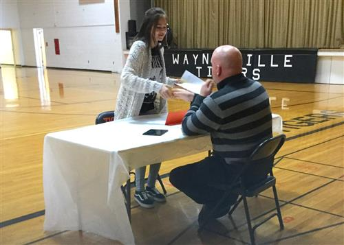 Middle school students participate in mock interviews