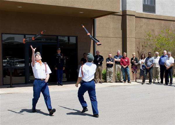 JROTC demonstrates drill routines at Rotary