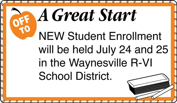 New student enrollment is July 24 and 25
