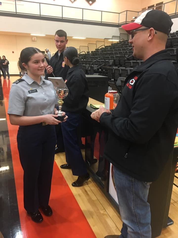 Waynesville JROTC Unarmed Exhibition Team receives trophy