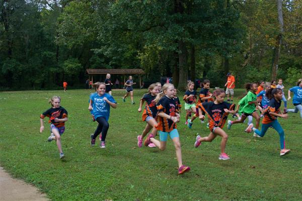 Elementary students stampede in the park