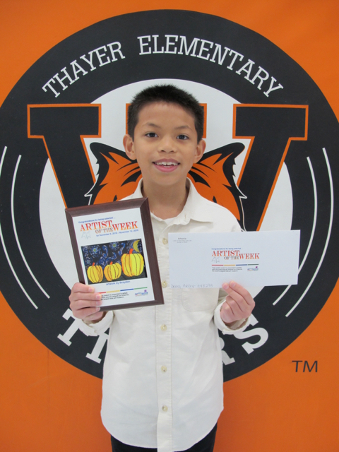 Thayer 4th grader chosen as Artsonia's Artist of the Week