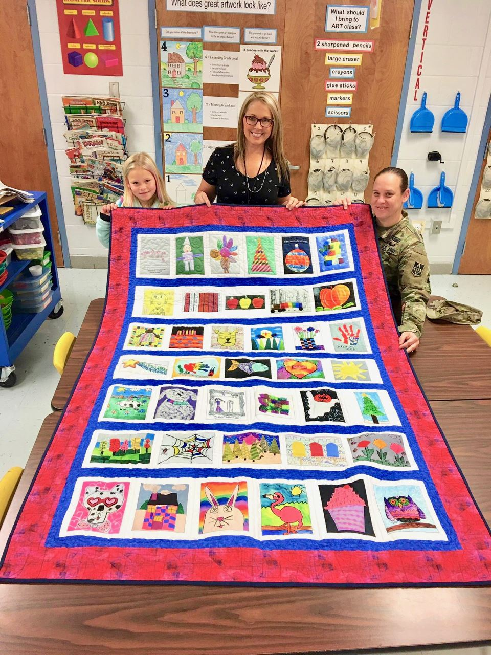 Quilt made from child's artwork